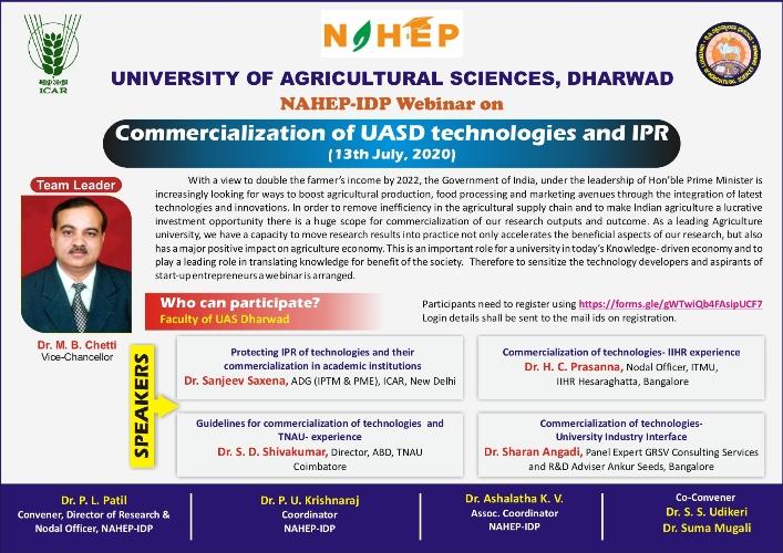 National Webinar on Commercialization of UAS, Dharwad technologies and IPR @UAS, Dharwad