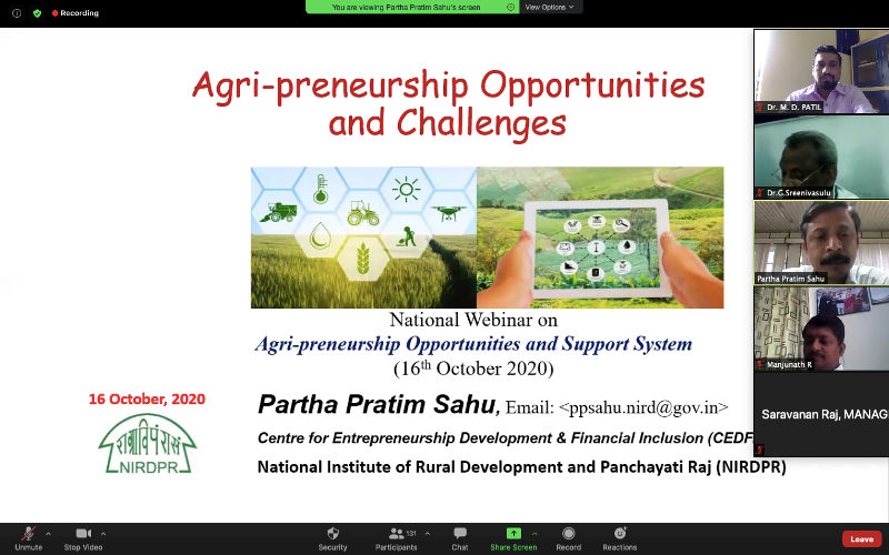 National Webinar on Agri-Preneurship Opportunities and Support System @ at College of Agriculture, Vijayapur
