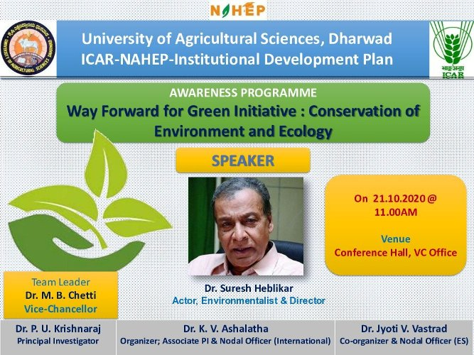 Awareness programme on Way Forward for Green Initiative: Conservation of Environment and Ecology @ UASD