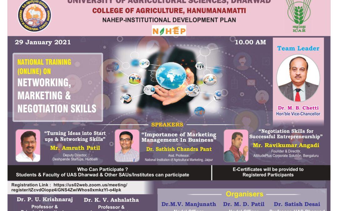 National Training Programme on Networking, Marketing and Negotiation Skills at Hanumanamatti