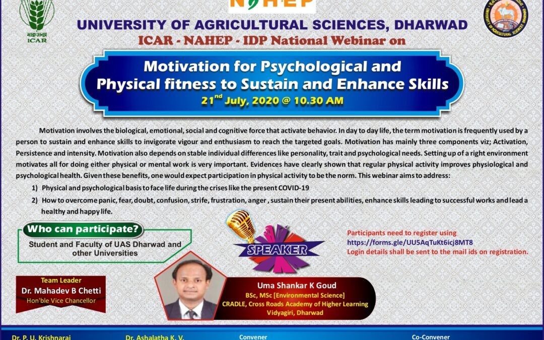 "National Webinar on ""Motivation for Psychological and Physical fitness to Sustain and Enhance skills"" @ UASD"