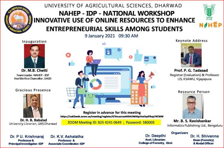 "ONLINE NATIONAL WORKSHOP ON ""INNOVATIVE USE OF ONLINE RESOURCES TO ENHANCE ENTREPRENEURIAL SKILLS AMONG STUDENTS"" @ College of Forestry, Sirsi"