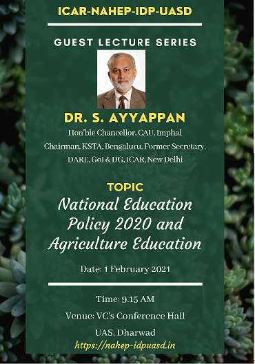 Guest Lecture on National Education Policy 2020 and Agriculture Education